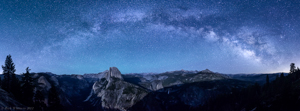 Milky Way over Half Dome Panorama